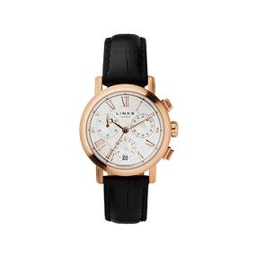 Richmond γυναικείο ρολόι με χρονογράφους, ροζ επιχρύσωση και μαύρο δερμάτινο λουράκι-