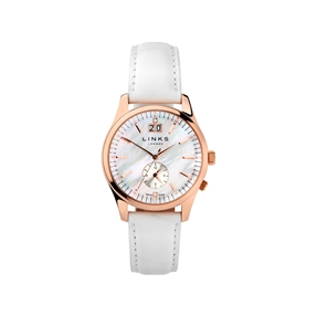 Regent Womens Rose Gold Plate Mother of Pearl & White Leather Watch-