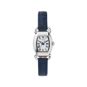 Driver Mini Tonneau Stainless Steel & Blue Leather Watch-