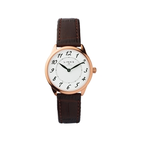 Narrative Rose Gold Plate & Brown Leather Womens Watch-