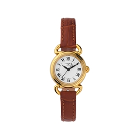 Driver Mini Round Gold Plate & Brown Leather Watch-