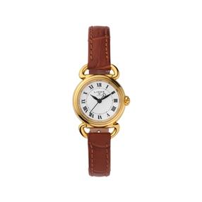 Driver Mini Στρογγυλό Επιχρυσωμένο ρολόι με καφέ δερμάτινο λουράκι-