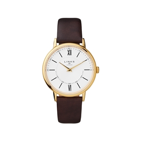 Noble Slim & Roman Yellow Gold Plated & Brown Leather Watch-