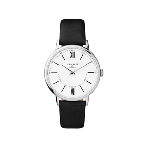Noble Slim & Roman Stainless Steel White Dial & Black Leather Watch-