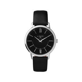 Noble Slim & Roman Stainless Steel & Black Leather Watch-