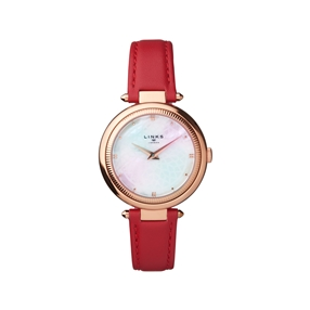 Timeless Rose Gold Tone, Mother of Pearl & Red Leather Watch-