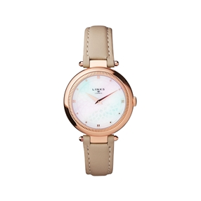 Timeless Rose Gold Tone, Mother of Pearl & Grey Leather Watch-