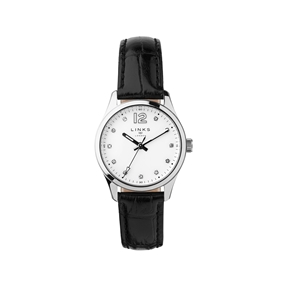 Greenwich Noon Womens Stainless Steel & Black Leather Watch-
