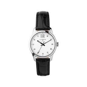 Greenwich Noon Ατσάλινο Ρολόι με Μαύρο Δερμάτινο Λουράκι-