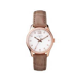 Greenwich Noon Womens Rose Gold Tone & Nude Leather Watch-
