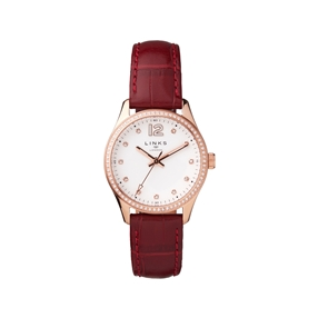 Greenwich Noon Womens Rose Gold Tone & Red Leather Strap Watch-