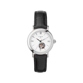Noble Womens Stainless Steel & Black Leather Watch-