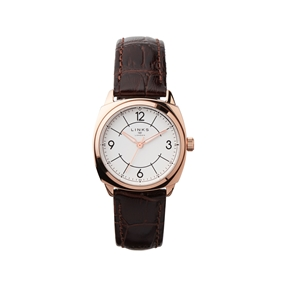 Brompton Womens Rose Gold Plate & Brown Leather Watch-