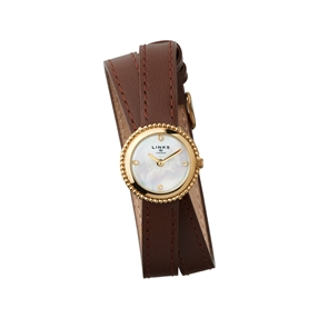 Effervescence Brown Leather & Mother Of Pearl Double Strap Watch-