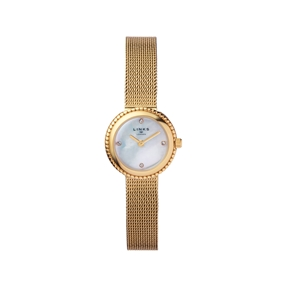 Effervescence Yellow Gold Plate & Mother Of Pearl Chain Watch-