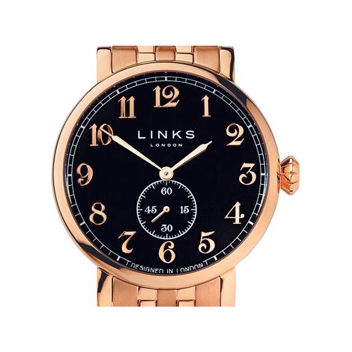 Greenwich Mens Black Dial Rose Gold Plate Bracelet Watch-