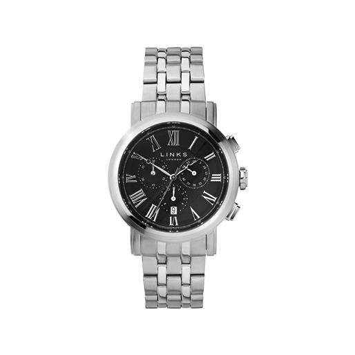 Richmond Mens Stainless Steel Black Dial Chronograph Bracelet Watch-