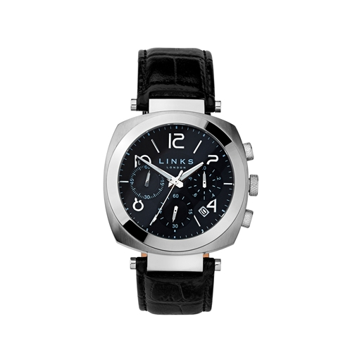 Brompton Mens Stainless Steel & Black Leather Black Dial Chronograph Watch-