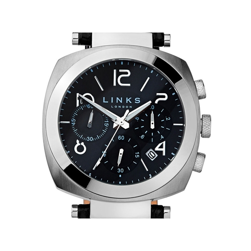 Brompton ανδρικό ρολόι από ατσάλι με χρονογράφους μαύρο καντράν και μαύρο δερμάτινο λουράκι-
