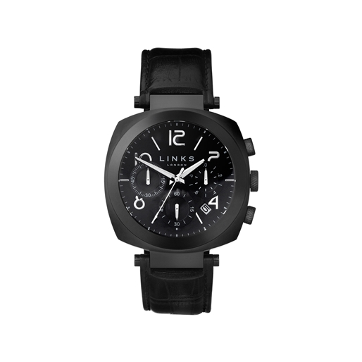 Brompton Black Stainless Steel Black Leather Chronograph Watch-