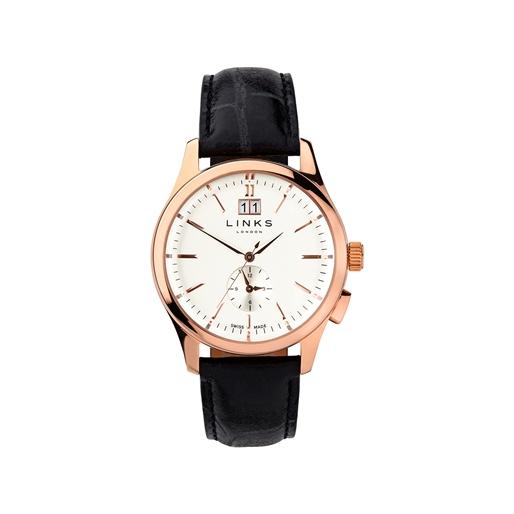 Regent Mens Rose Gold Plate & Black Leather Watch-