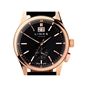 Regent Mens Black Dial Rose Gold Plate Black Leather Watch-