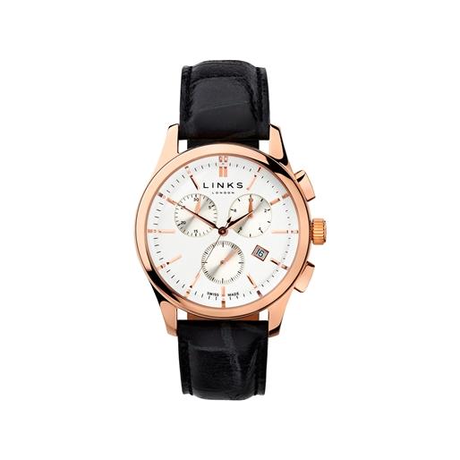 Regent Mens Rose Gold Plate & Black Leather Chronograph Watch-