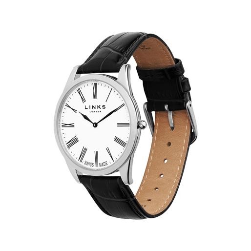 Noble Slim Ανδρικό Ατσάλινο ρολόι με μαύρο λουράκι-