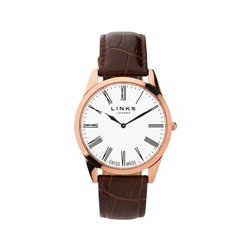 Noble Slim Ανδρικό Ατσάλινο ρολόι με ροζ επιχρύσωση και καφέ λουράκι-