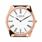 Noble Mens Slim Rose Gold Plated Brown Leather Watch-