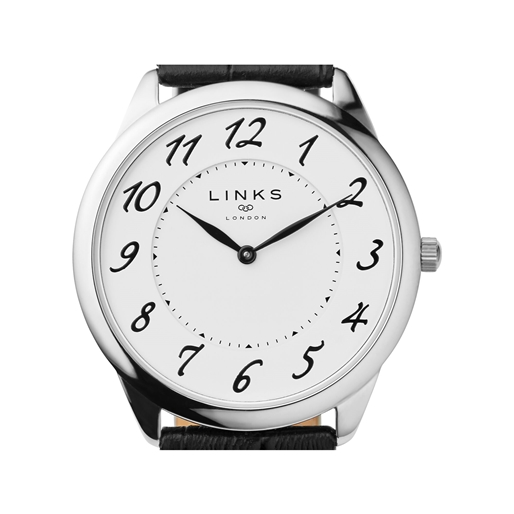 Narrative Ατσάλινο ρολόι με μαύρο δερμάτινο λουράκι-