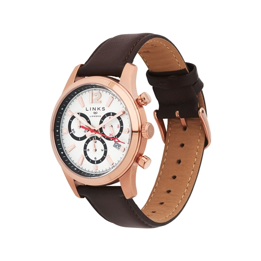 Greenwich Noon Mens Rose Gold Tone Chronograph Brown Leather Watch-