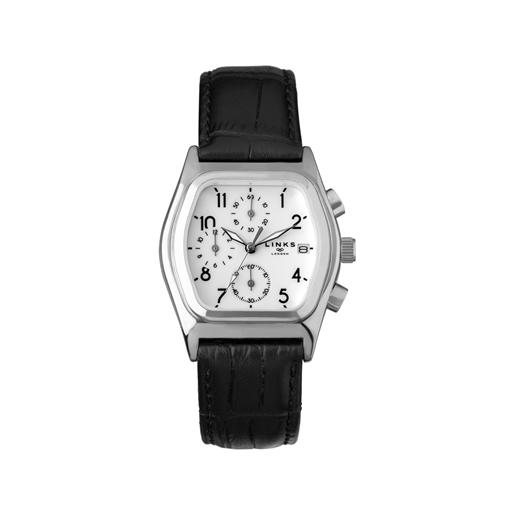 Limited Edition Ασημένιο Ρολόι με μαύρο δερμάτινο λουράκι-