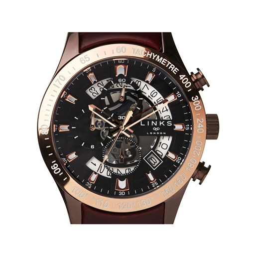 Skeleton Rose Gold Tone & Brown Leather Chronograph Watch-