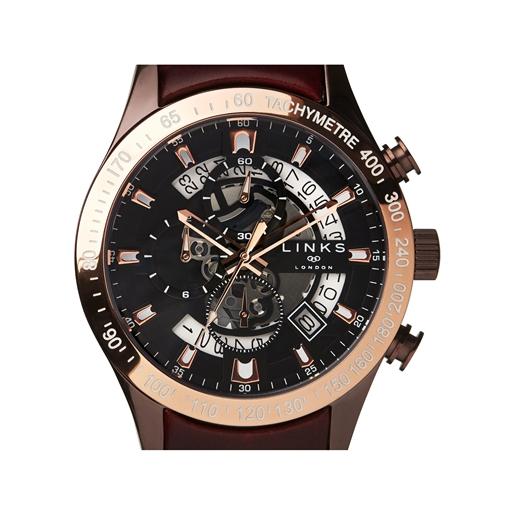 Skeleton ρολόι με χρονογράφους και καφέ δερμάτινο λουράκι-