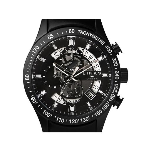 Skeleton Black Leather Chronograph Watch-