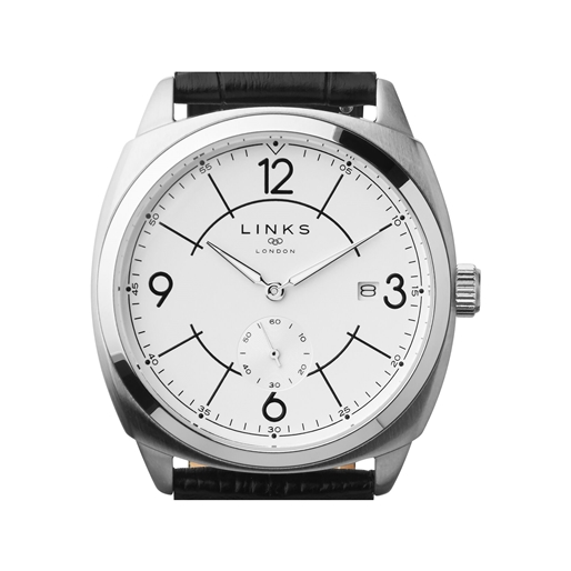 Brompton Mens Stainless Steel & Black Leather Watch With White Dial-