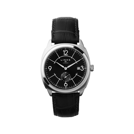 Brompton Mens Stainless Steel & Black Leather Watch With Black Dial-