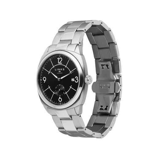 Brompton Mens Stainless Steel Bracelet Watch With Black Dial-