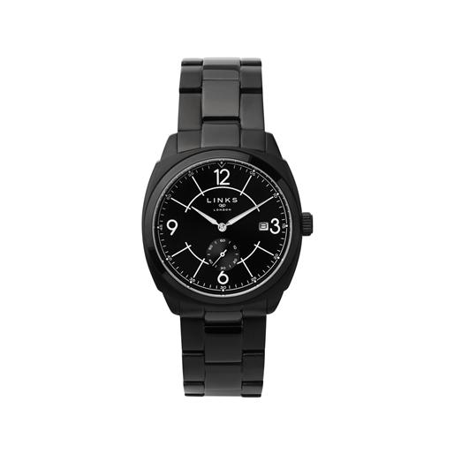 Brompton Mens Black Stainless Steel Bracelet Watch With Black Dial-