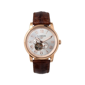 Noble Mens Rose Gold Plate & Brown Leather Automatic Watch-