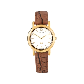 Noble Slim Yellow Gold Plate & Brown Leather Watch-