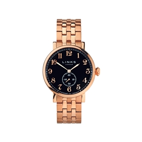 Greenwich Mens Black Dial Rose Gold Plate Bracelet Watch-