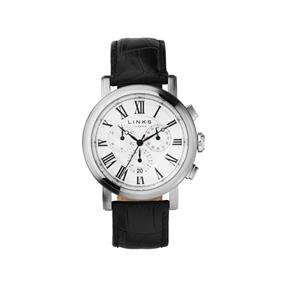 Richmond ανδρικό ρολόι από ατσάλι με χρονογράφους και μαύρο δερμάτινο λουράκι-