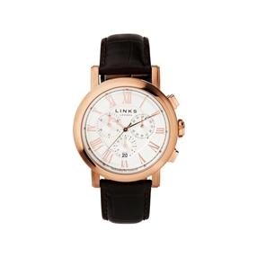 Richmond ρολόι με ροζ επιχρύσωση και καφέ δερμάτινο λουράκι-