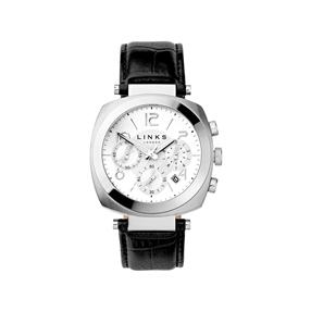 Brompton ανδρικό ρολόι  από ατσάλι με χρονογράφους και μαύρο δερμάτινο λουράκι-