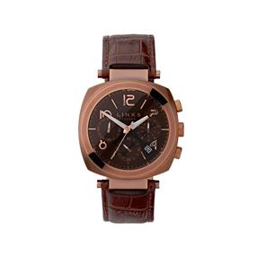 Brompton ανδρικό ρολόι από ατσάλι με χρονογράφους και καφέ δερμάτινο λουράκι-