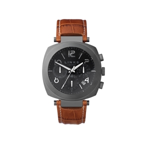 Brompton Mens Gunmetal Grey & Brown Leather Chronograph Watch-