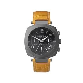 Brompton Mens Gunmetal Grey & Mustard Leather Chronograph Watch-