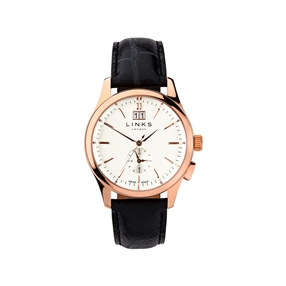 Regent Mens Rose Gold Plate & Black Leather Watch-
